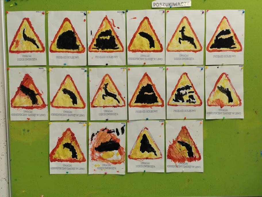 Poszukiwacze poznawali znaki drogowe